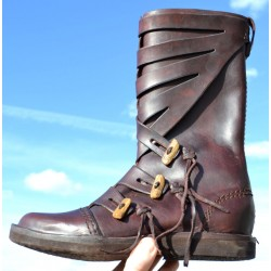 Leather viking high shoes - brown