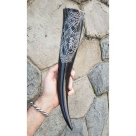 Drinking Horn with Carved Decoration, 0.4 l