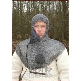 Chain Mail Coif with square mouth guard, ID 8 mm, blackened